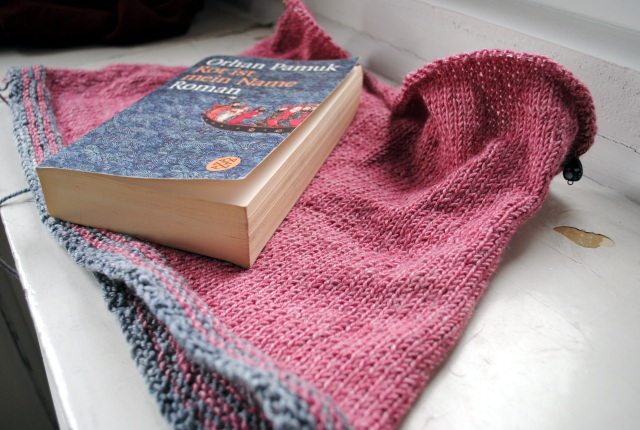 New sweater & old book.