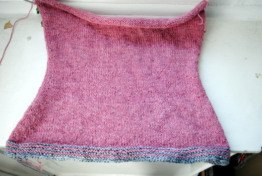 pink sweater - knitting the body is almost done