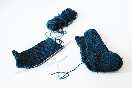 knit baby booties in cotton in progress